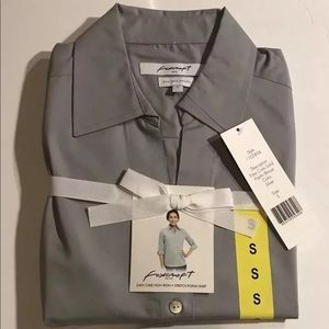 NEW Foxcroft sz S stretch GRY cotton button up top